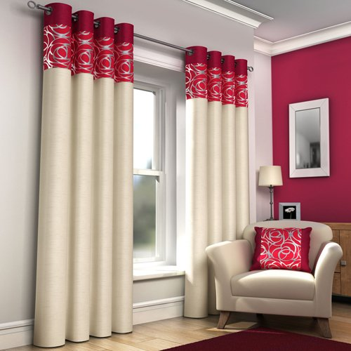 Red and Cream Curtains: Amazon.co.uk