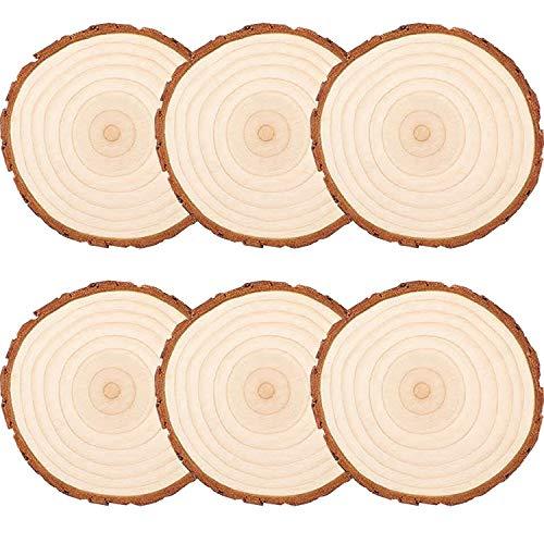 liuer 6PCS Dischi Legno Senza Buco Diametro 15-16cm Naturale Legno da Decorare Dischetti Legno per Pirografo,Intagliare,Disegnare(10mm Spessore)