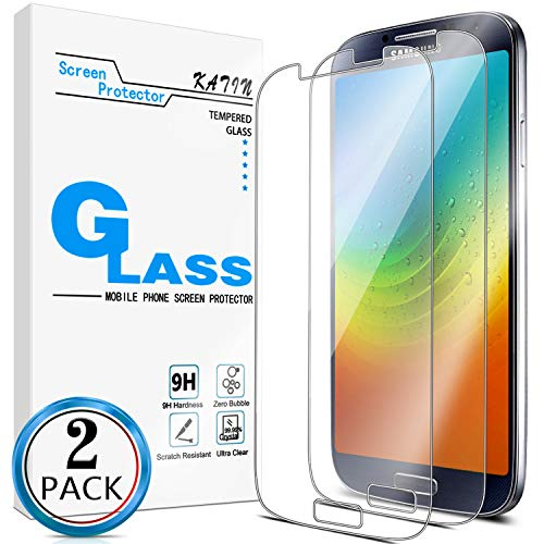 KATIN Galaxy S4 Screen Protector - [2-Pack] for Samsung Galaxy S4 Tempered Glass 9H Hardness, Bubble Free with Lifetime Replacement Warranty