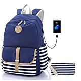 Sqodok Girls Backpack Waterproof, Women College Bookbag with USB Charging Port Pencil Case, Lightweight Travel Daypack 15.6inch Laptop Bag for School, Blue