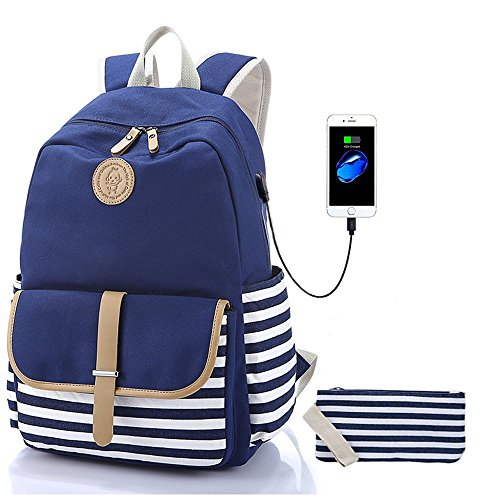 Sqodok Girls Backpack Waterproof, Women College Bookbag with USB Charging Port Pencil Case, Lightweight Travel Daypack 15.6inch Laptop Bag for School,...