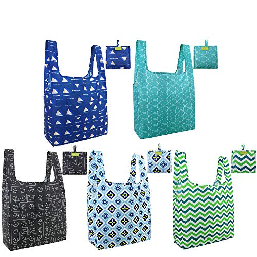 BeeGreen Totes Shopping 5 Pack with Pouch Grocery Cloth Reusable Ripstop Washable Foldable Bag Large Durable Lightweight, Green Black Teal Blue Navy