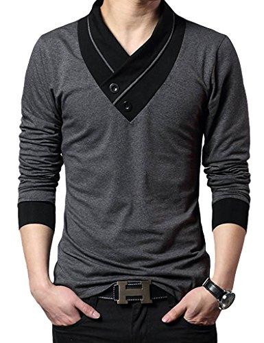 Bestgift Homme Coton Vogue T-Shirt Gris L