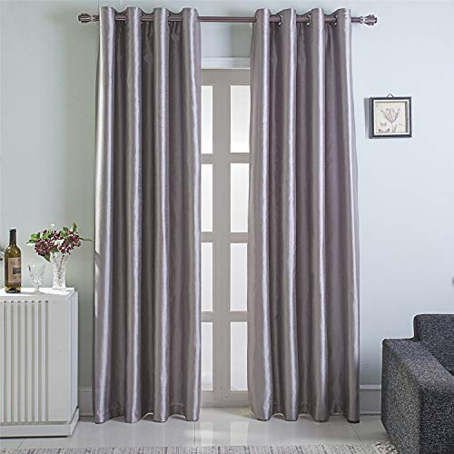 GYROHOME Faux Silk Blackout Curtains, Fully Lined Solid Color Window Treatment Drapes for Bedroom and Living Room Thermal Insulated Grommet Top Room Darkening Drapes, (Light Gray, 52x96, 2 Panels)