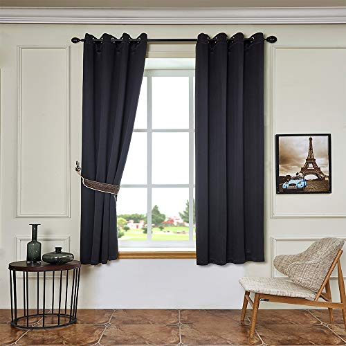 BEGOODTEX Inherent Flame Retardant Blackout Curtains Drape for Home Window Treatment,Black,52Wx95L Inch,Pack of 1 Panel