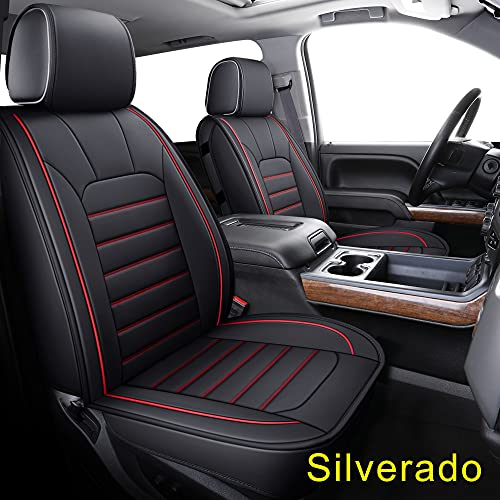 LUCKYMAN CLUB 56-SLD Seat Covers Fit for 2007-2021 Chevy Sierra Silverado 1500/2500 HD / 3500 HD Crew,Double,Extended Cab with Water Proof Faux Leather (Black & Red Full Set)