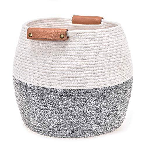 UMI Cotton Rope - Borsa da basket con manico in Finta Pelle, 13' x 13' x 13' x 13', Nursery Hamper e Storage Bin per blanket, pillows e animals stuffed (grigio e bianco)
