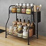 Spice Rack Organizer With Cutlery chopsticks storage shelf , 2-Tier Bathroom Shelf Organizer countertop, Kitchen Rack Organizer for Spice Can Sauce Jars Bottle With 3 Hooks (Black, Steel)