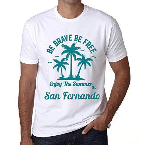 Hombre Camiseta Gráfico T-Shirt Be Brave & Free Enjoy The Summer San Fernando Blanco