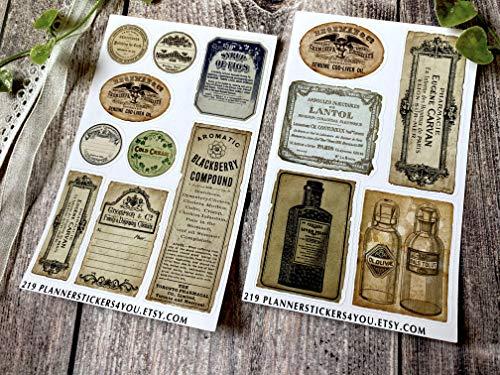 Deko Aufkleber - handgezeichnet - Thema Old Vintage Apotheke Doktor Labels - Bullet Journal Stickers - Stationary Set 219