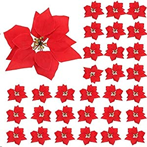 XYXCMOR 30pcs Artificial Poinsettia Flowers Christmas Tree Ornaments Silk Poinsettia Centerpieces Fabric for Xmas Christmas Wreaths Garland Decorations Red Wreaths Garland Decorations Red