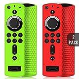 2 Pack Custodia per Telecomando Fire TV Stick 4K/4K Ultra HD con il Nuovo 2a Gen Alexa Voice Telecomando, Leggera Antiscivolo Antiurto Custodia in Silicone per Remote Controller (Verde & Rosso)