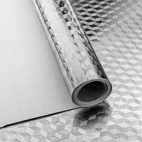 Niviy Aluminium Möbel Klebefolie Selbstklebende Dekorfolie Küchenfolie Wasserdicht und Öl-Resistent Wasserdicht Anti-Schimmel DIY Möbel Folie für Arbeitsplatte Küchenschrank Silber Prisma 40X200cm