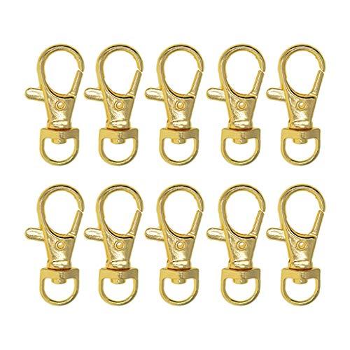Bonarty 10 Stück Gold überzogene Metall Kleine Swivel Haken Lanyard Karabinerhaken