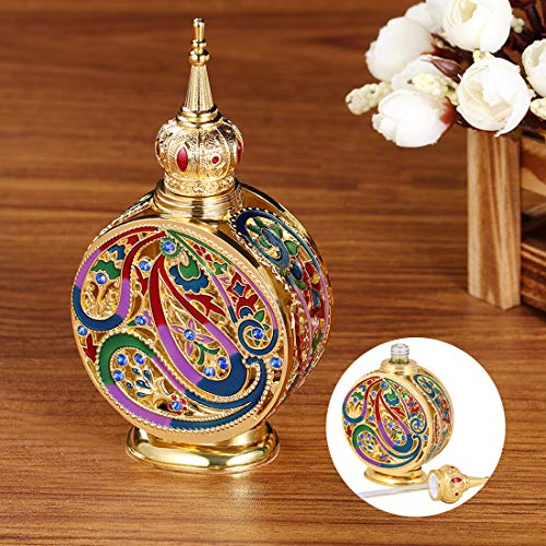 H&D HYALINE & DORA Vintage 18ml Empty Refillable Egyptian Style Enameled Metal and Glass Perfume Bottle
