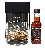 Personalised Crystal Glass Tumbler & Miniature - Rum Design (Captain Morgan Rum, Cardboard Gift Box)