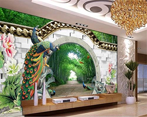 Avikalp Exclusive Awz0395 3d Wallpaper Fantasy 3d Spring Bamboo Forest Arches Brick Wall Peacock Peony Hd 3d Wall Sticker 182cm X 121cm Amazon In Home Kitchen