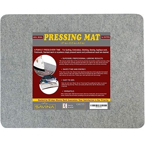 "Wool Pressing Mat - 17"" x 13.5"" Quilting Ironing Pad - Easy Press Wooly Felted Iron Board for Quilters by Savina"