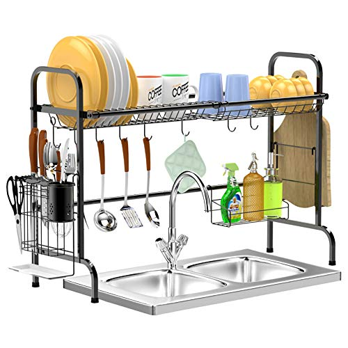 Over Sink Dish Drying Rack, GSlife Durable Non-Rust Over Sink Dish Rack with Utensil Holder & Cutting Board Holder, Stainless Steel Over Sink Shelf Dish Drainer for Kitchen, Black