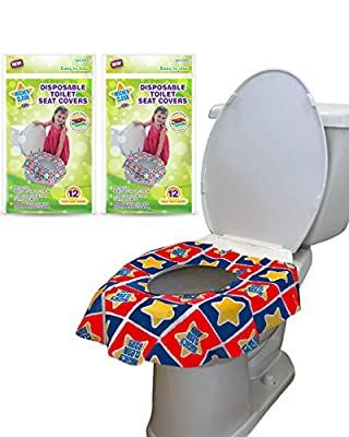 24 Large Disposable Toilet Seat Covers - Portable Potty Seat Covers for Toddlers, Kids, and Adults by Mighty Clean Baby - 2 Packs of 12 Covers from Mighty Clean Baby