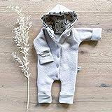 Wollwalk Overall Sand - Anker Beige meliert mit Kapuze und umklappbarer Arm- und Beinbündchen - Baby Jungen Winter