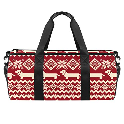 Travel Beach Bags Sport Gym Duffle Overnight Shoulder Sausage Dog and Flowers Large Bag with Dry Wet Pocket
