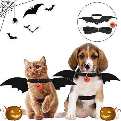 Halloween Katzenfledermaus Kostüm, Hundefledermaus Kostüm, mit 1.2 m reflektierendem Balkengürtel und Kürbisglocke, Halloween Kostüm, geeignet für Kätzchen und Hunde