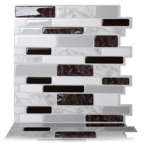 """Tic Tac Tiles Pelar anti baldosas del molde y la toma mural pared posterior En Polito Negro Blanco 10 10"""" x 10"""" Marble carbón de leña; Blanco; Gris medio; Mármol blanco y gris"""