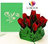 LIMAH® Pop Up 3D Geburtstagskarte, Glückwunschkarte mit 9 Tulpen, Dankeskarte, Abschiedskarte, Geburtstagskarte, Muttertagskarte, Valentienstagkarte (Rot)