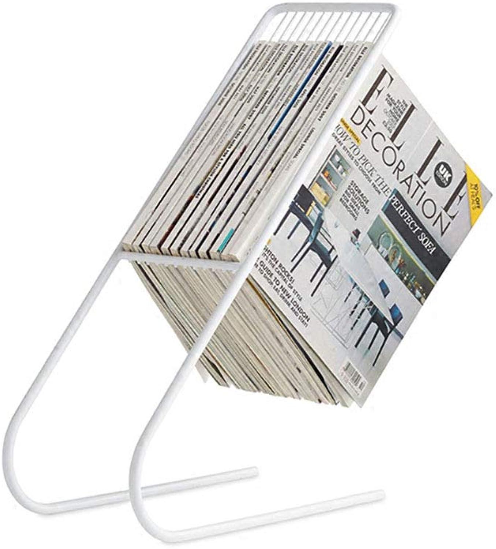 Xiao Jian Bookshelf - Iron Simple Floor-Standing Creative Multi-Function Magazine Frame Newspaper Rack 20X50cm (Black, gold, White) Bookshelf (color   White)