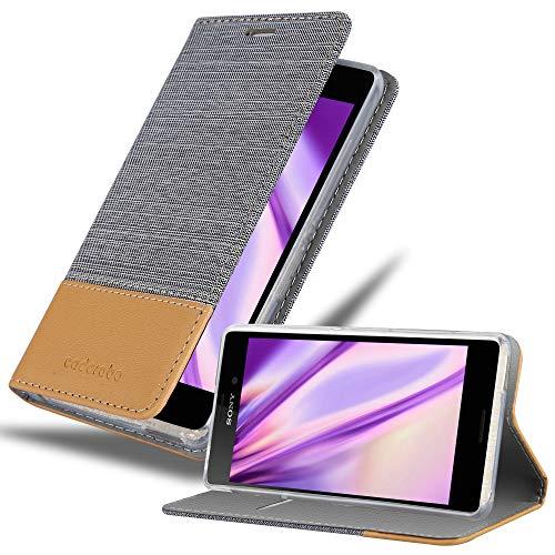 Cadorabo Hülle für Sony Xperia M4 Aqua in HELL GRAU BRAUN - Handyhülle mit Magnetverschluss, Standfunktion & Kartenfach - Hülle Cover Schutzhülle Etui Tasche Book Klapp Style