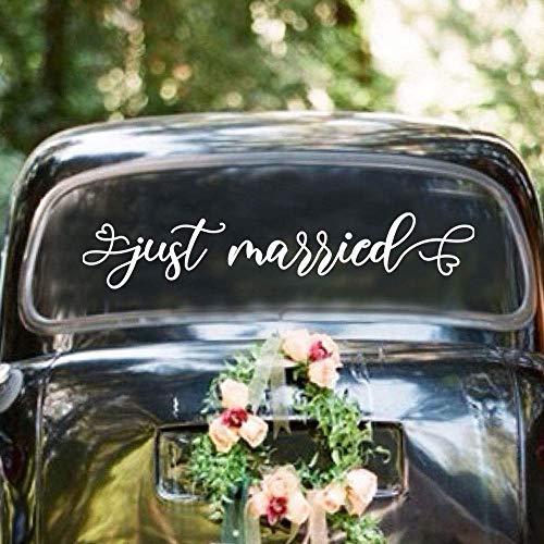 "Just Married Car Wedding Day Car Window Decal 26""x5"" Vinyl Decal"