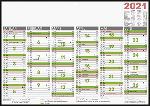 Brunnen 1070142001 Tischkalender/Tafelkalender A 4 Modell 701 42, 1 Seite = 6 Monate, auf Pappe kaschiert mit schwarzem Rand, Kalendarium 2021