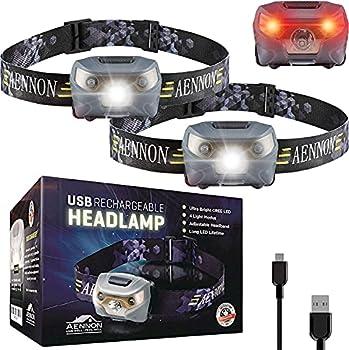 USB Rechargeable Lampe Frontale LED CREE, très lumineuse, légère et confortable, facile d'utilisation, parfaite pour la course, la marche, le camping, la lecture