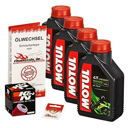 Motul 10W-40 Öl + K&N Ölfilter für Yamaha MT-03, 06-14, RM02 - Ölwechselset inkl. Motoröl, Filter, Dichtring