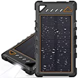 Portable Solar Charger, BEARTWO 10000mAh Ultra-Compact External Batteries with Dual USB Ports, Solar Power Bank with Flashlight for Camping, Outdoor Activities