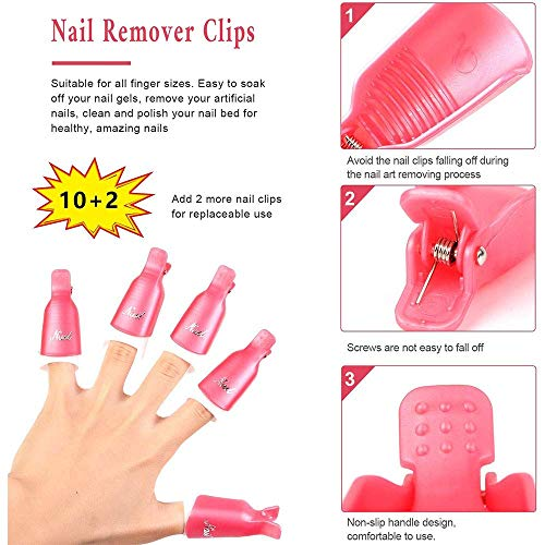 Nail Polish Gel Remover Tools Kit for Women with Nail Clip Caps, Nail File, Nail Remover Cotton Pads,Brush, 2-in-1 Cuticle Scraper and Pusher, Nail Separator, Dispenser Bottle