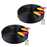 WildHD 2x200ft All-in-One Siamese BNC Video and Power Security Camera Cable BNC Extension Wire Cord with 2 Female Connectors for All Max 5MP HD CCTV DVR Surveillance System (200ft 2pack Cable, Black)