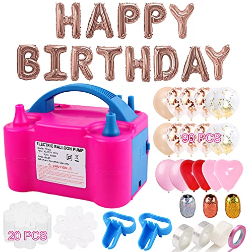 Balloon Pump 132 PCS Electric Balloon Pump 110V 600W Portable Dual Nozzles Electric Balloon Air Pump Electric Balloon Inflator with 90 PCS Balloons, Tying Tools, 20 Flower Clips, Tape Strip and Dot Glues Balloon Blower for Party Decoration