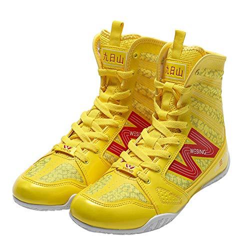 TTXLY Botas de Boxeo para Hombres Zapatos de Artes Marciales Zapatos de Boxeo Artes Marciales Sanda Entrenamiento Fitness Zapatos Altos Zapatos de Entrenamiento de Boxeo de Lucha Libre,Amarillo,47