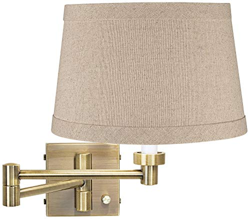 Modern Swing Arm Wall Lamp Antique Brass Plug-in Light Fixture Natural Linen Drum Shade for Bedroom Bedside Living Room Reading - Barnes and Ivy