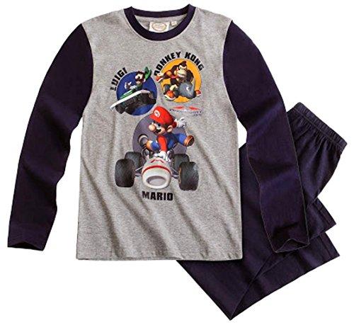 Super Mario Kollektion 2014 Schlafanzug 98 104 110 116 122 128 134 140 Jungen Pyjama Neu Lang Kart WII L14 Grau-Dunkelblau (98 - 104)