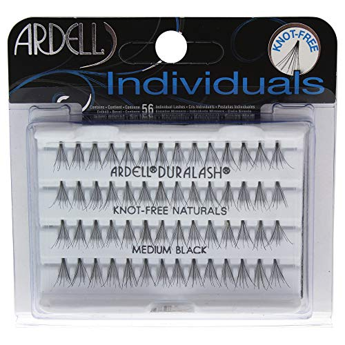 ARDELL Individuals Medium (Knot Free) black, 1er Pack (1 x 56 Stück) Einzelwimpern Eye-lashes (ohne Kleber). Wiederverwendbare natürlich schwarze künstliche Echthaar Wimpern