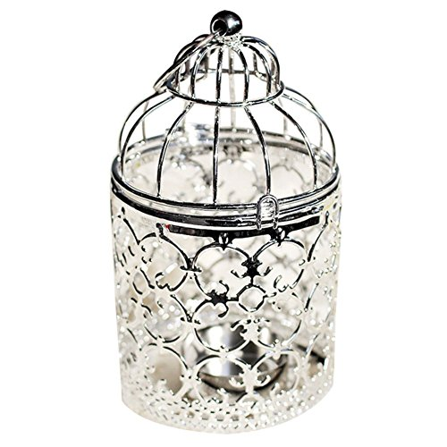 Qingsun Metal Tealight Candle Holder Lanterns Creative Wedding Home Table Decoration Birdcage White (Silver-A)