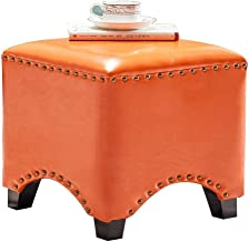 DNSJB Shoe Bench Stools Wood Seat Footstool Footrest Ottoman Pouffe Chair Foot Stool with Faux Luxury Oil Wax Leather Cove...
