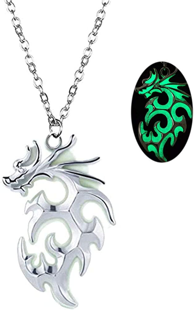 Mens Animal Dragon Necklace Pendant Luminous Tribal Totem Flying Dragon Necklace for Women Men Teen Glow in the Dark Jewelry Halloween Guard Gift