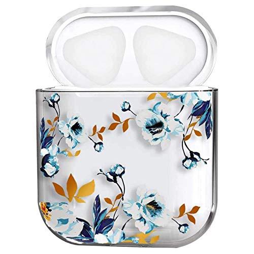 Oihxse Compatible pour AirPods 1 et 2 Coque Transparent Motif Mignon Ultra Fine PC Dur Protection Housse Filles des Fruits Charging Anti-Choc Étui Case pour AirPods 2 & 1 (Fleur Blanche)