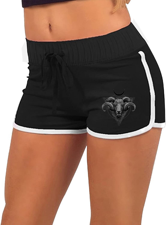 Baphomet Goat Head Satanic Women's Sports Pants Running Short Gym Yoga Dolphin Shorts