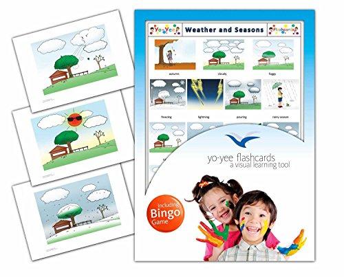 Yo-Yee Flashcards Tarjetas con imágenes del Clima y Las Estaciones con Juego de Bingo Adaptado a Ellas; para el fomento del lenguaje Oral en guarderías, colegios y para logopedia