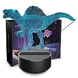 Dinosaur Night Light 3D Kids Bedside Lamp 7 Colors Change Dinosaur Toys Optical Illusion Night Lights Ideas Birthday Gifts for Kids Baby Girls Boys (Spinosaurus 01)